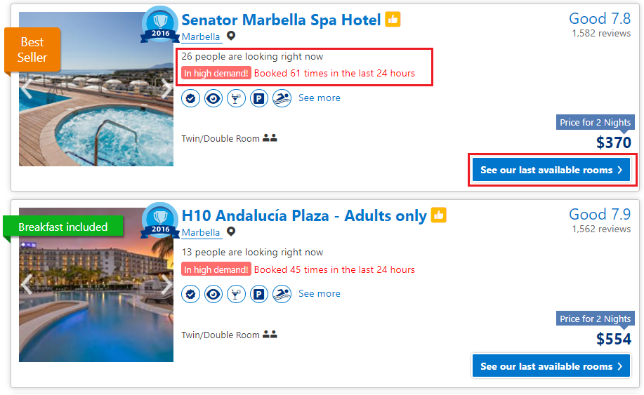 Hotel Urgency Messaging for Bookings - Upward Commerce